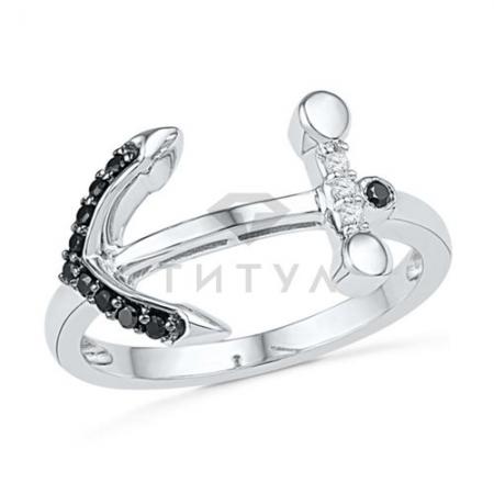 Кольцо в форме якоря из белого золота с черными бриллиантами
