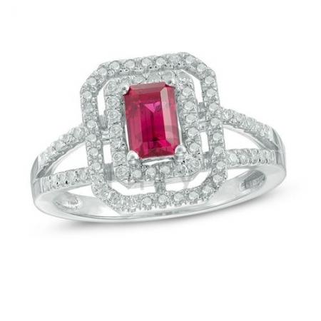 Кольцо из белого золота с рубином и бриллиантом
