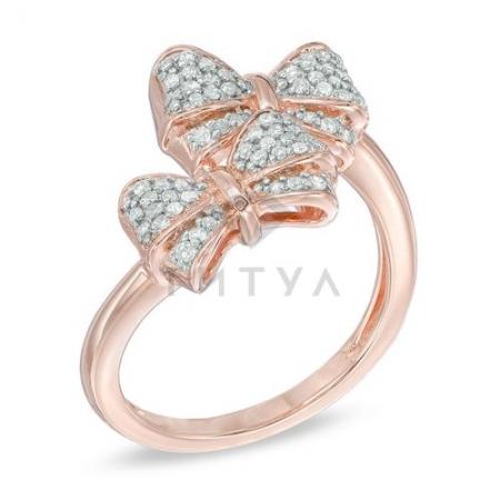 Бриллиантовое кольцо из красного золота с бантиками
