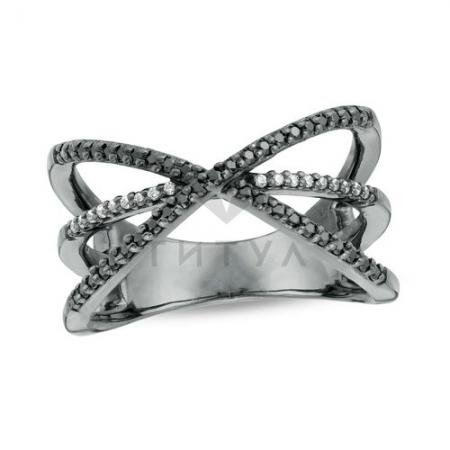 Кольцо из черного золота с бриллиантом