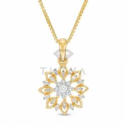 Подвеска Цветок из желтого золота с бриллиантом