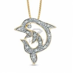 Бриллиантовый дельфин из комбинированного золота