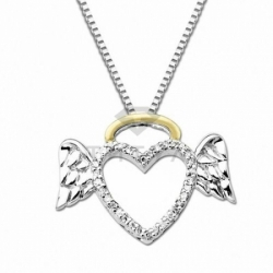Подвеска Сердце с крыльями из комбинированного золота с бриллиантами