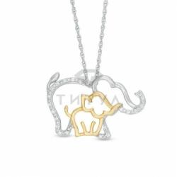 Подвеска в форме слонов из комбинированного золота с бриллиантами