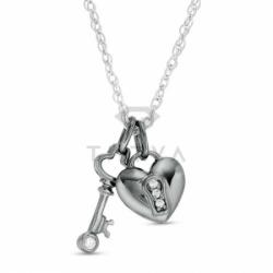 Подвеска Ключ от сердца из комбинированного золота с бриллиантами