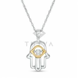 Золотая подвеска Хамса с бриллиантами