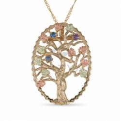"""Подвеска """"Дерево"""" из золота с топазами и аметистом"""