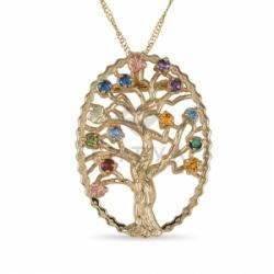 """Подвеска """"Дерево"""" из золота с полудрагоценными вставками"""