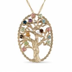 Золотая подвеска в виде дерева с полудрагоценными вставками