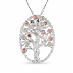 Подвеска в виде дерева из белого золота с полудрагоценными камнями