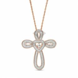 Золотой крестик с сердечком и белыми сапфирами