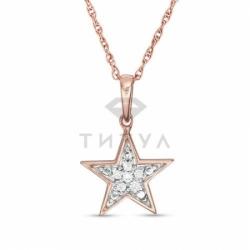 Подвеска в форме звезды из красного золота с бриллиантами