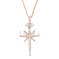 Золотая подвеска Звездочка с бриллиантами