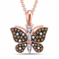 """Подвеска """"Бабочка"""" из красного золота с бриллиантами"""