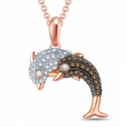 """Подвеска """"Дельфины"""" из золота с бриллиантами"""