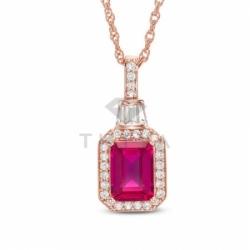 Подвеска из красного золота с рубином и бриллиантом