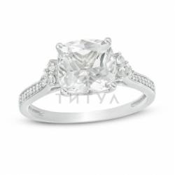 Помолвочное кольцо из белого золота с белым сапфиром и бриллиантом