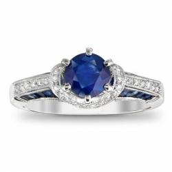 Помолвочное кольцо из белого золота с сапфиром и бриллиантом