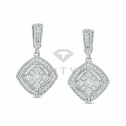 Серьги висячие из белого золота с бриллиантом