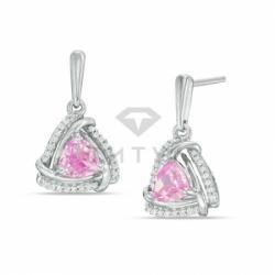 Серьги висячие из белого золота с розовым сапфиром и бриллиантом