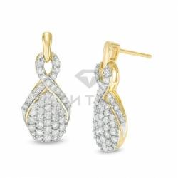 Серьги висячие из желтого золота с бриллиантом