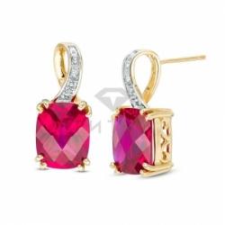 Серьги висячие из желтого золота с рубином и бриллиантом