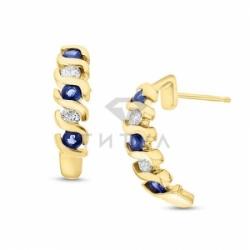 Серьги висячие из желтого золота с сапфиром и бриллиантом