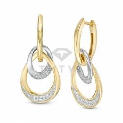 Серьги висячие из комбинированного золота с бриллиантом