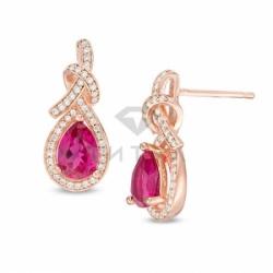 Серьги висячие из красного золота с рубином и бриллиантом