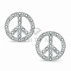 """Серьги-гвоздики """"Мир"""" с бриллиантами"""
