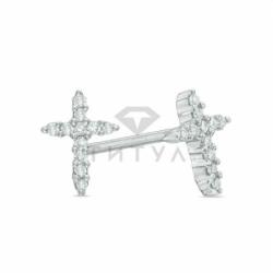 Серьги-гвоздики в виде крестиков из белого золота с бриллиантами