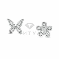 """Серьги """"Бабочка и цветок"""" с бриллиантами"""
