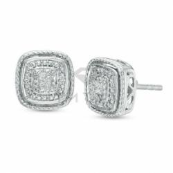 Серьги-гвоздики из белого золота с бриллиантом