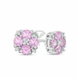 Серьги-гвоздики из белого золота с розовым сапфиром и бриллиантом