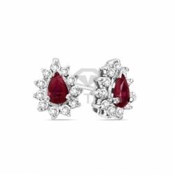 Серьги-гвоздики из белого золота с рубином и бриллиантом