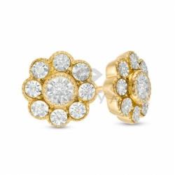 Серьги-гвоздики в виде цветов из желтого золота с бриллиантами