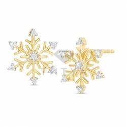 """Золотые серьги """"Снежинки"""" с бриллиантами"""