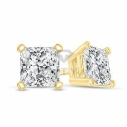Серьги-гвоздики из желтого золота с бриллиантом