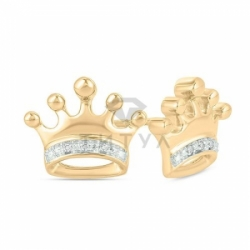 "Серьги-гвоздики ""Корона"" с бриллиантами"