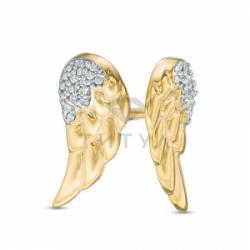 """Золотые серьги """"Крылья"""" с бриллиантами"""