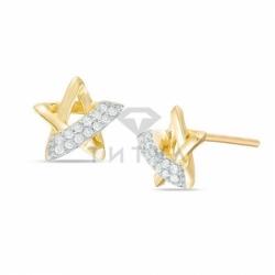 """Золотые серьги """"Звездочки"""" с бриллиантами"""