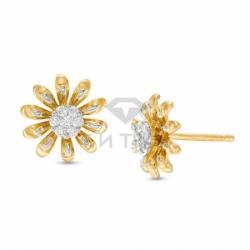 Серьги-гвоздики Ромашка из желтого золота с бриллиантами