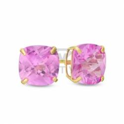 Серьги-гвоздики из желтого золота с розовым сапфиром