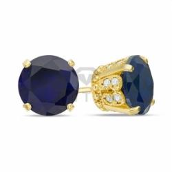 Серьги-гвоздики из желтого золота с сапфиром и бриллиантом