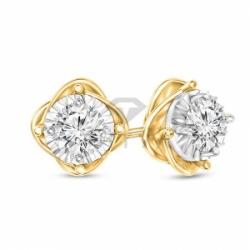 Серьги-гвоздики из комбинированного золота с бриллиантом