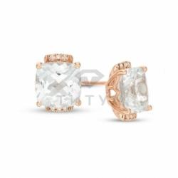 Серьги-гвоздики из красного золота с белым сапфиром и бриллиантом