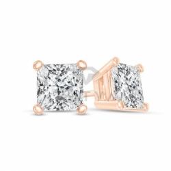 Серьги-гвоздики из красного золота с бриллиантом
