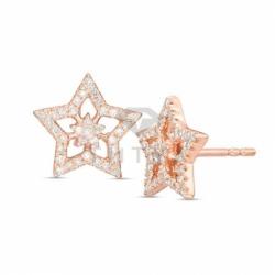 Золотые серьги-гвоздики в виде звездочек с бриллиантами