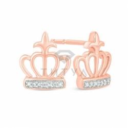 Серьги-гвоздики Короны из красного золота с бриллиантами