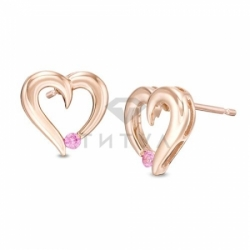 Серьги-гвоздики из красного золота с розовым сапфиром